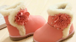 Wholesale 2014 New Arrival Winter Baby Girls Cute Boot Children D Flowers Warm Snow Shoes Kids Cotton Shoes Black Pink Rose Color pairs