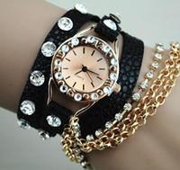 Wholesale Lychee leather metal necklace full of diamond bracelet watch ladies fashion bracelet watch