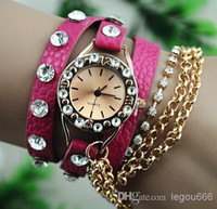 Wholesale Hot lychee leather metal necklace full of diamond bracelet watch ladies fashion bracelet watch