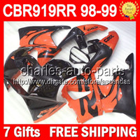 Wholesale 7gifts For HONDA CBR919 RR Customize CBR900 CBR900RR Orange black Q66207 CBR RR RR CBR919RR NEW Orange Fairings