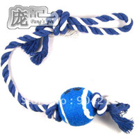 Wholesale Pet dog cat toys Teeth cleaning cotton rope clinch and tennis ball