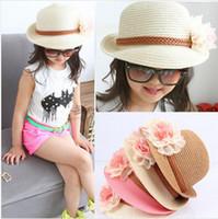 Wholesale New Flower Baby Sun Hats Kids Straw Fedora Hat Baby Caps Girls Sun Hat Children Summer Hat Jazz Cap