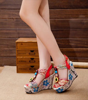Sandals Wedge Heel Almond Shaped Toe The new fashion color big gem thick bottom flower high heel sandals wedge sandals ytdftd