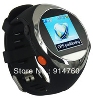 Wholesale Freeshipping Real time GPS Watch Quad band Watch Security with SOS Function for Eldder Kids Criminal Pet Silvery