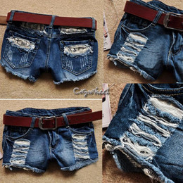 Free Shipping 2014 Spring Summer Female Europe America Korean Fashion Low Waist Hole Lace Women Denim Shorts Jeans #7 SV002873