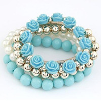 Wholesale 10 fashion multi layer mixing set auger beaded bracelet flowers stretch bracelets