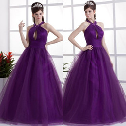 Wholesale Purple Elegant Quinceanera Dresses Halter Ball Gown Floor Length Tulle Quinceanera Dresses Prom Dresses for Party Gowns EM01902