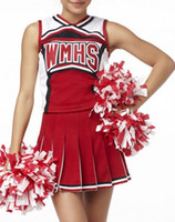 Wholesale Ladies costume fancy dress up red glee cheerleader costume without pompom