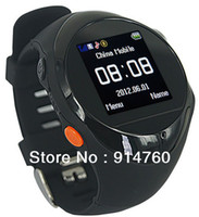 Wholesale Freeshipping Real time GPS Watch Quad band Watch Security with SOS Function for Eldder Kids Criminal Pet Black