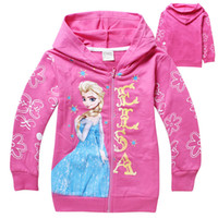 Newest arrivals Frozen Girls Hoodies baby Elsa Princess jack...