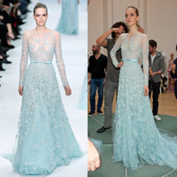 Reference Images Scoop Lace 2014 Elie Saab Elegant Sheer Crystal Luxury Light Blue Runway Evening Dresses with Long Sleeve Prom Dress WD-252