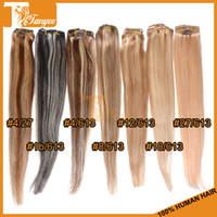 Wholesale Virgin Remy Hair Clip In Human Hair Extensions Straight Full Head Set g Colors Available quot quot quot quot