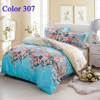 50% silk +50% cotton Printed Home Factory Price bedding set Home textile Twin King Queen size Bedding Sets Floral Bed Set Duvet Cover Bedsheet Pillowcase bedlinen bedspread