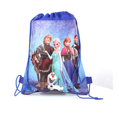 Wholesale New arrival frozen ice princess woven double sided printing foreign trade Drawstring Backpacks Drawstring bags size cm cm