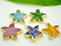 Wholesale 5 Piece Gold plated Starfish Star shape Agate Stone Pendants Natural Druzy Gem Stone Pendants