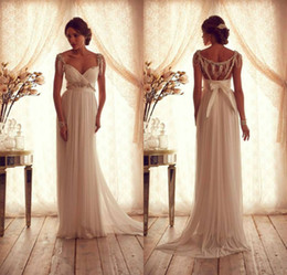 Wholesale Elegant V Neck Anna Campbell Wedding Dresses Cap Sleeve Women Bridal Gowns Open Back vestido de noiva