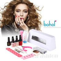 Wholesale 5 in Colors Nail Gel Shellac UV Lamp and Full Nail Tools Set Gel Polish nail gel nail polish U010 New