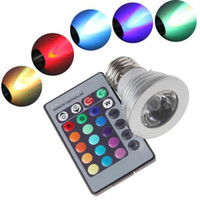 Wholesale 3W GU10 E27 MR16 RGB LED Bulb Lamp Color changing led Spot light with Remote Control