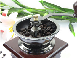 Wholesale Vintage Mini Old Style Wood Metal Black Coffee Bean CONICAL Grinder Kitchen