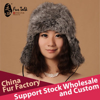 Wholesale Imported czech rabbit fur hat with earflap