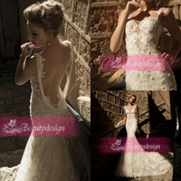 Wholesale 2015 New arrival sexy mermaid wedding dresses chapel train applique lace backless beading pearls spaghetti straps bridal gowns GL1411