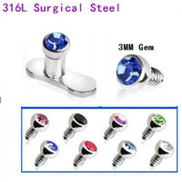 Wholesale Mix Color Gem L Surgical Steel Dermal Anchor Body Piercing Dermal Body Piercing Jewelry