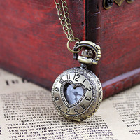 Wholesale Fashion design Vintage hollow out heart alloy pocket watch