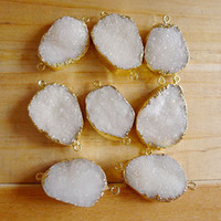 Wholesale 10pcs Druzy Quartz Connectors in kt Gold Plated Natural White Color Druzy Gemstone Finding Beads free shape