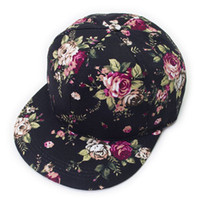 Fashion Flower Print Hiphop Snapback Baseball Cap Hat