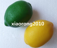 Wholesale 12Pcs cm Artificial Fruits and Vegetables Simulation Green Yellow Lemon Model Toy Props Decorations Wedding Shoot Supplies