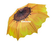 Wholesale sunflower Three folding umbrellas for rain UV resistance creative fashion sunshade solar folding umbrella