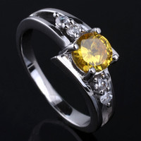 With Side Stones Women's Gift Cute Lady Pure S925 Sterling Silver Ring Yellow Citrine 6mm Round size 6 7 8 9 R016