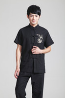 cotton polyester shirts - hot sale the national trend clothing chinese style top tradition Chinese Black linen Shirt tang suit Tai chi shirt