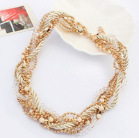 Beaded Necklaces Women's Fashion 2014 New High Quality Women Luxury Costume Bead Bohemia Statement Necklaces & Pendants Choker Necklace For Women Men Jewelry