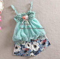 Summer wholesale suits - Baby Girl Suit Outfits Child Kids Sets Children Clothing Girls Condole Belt Summer Shorts Children Set Kids Suit Outfits Girl Clothes L31345