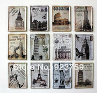 Antique Imitation Tag Home Decoration 12pcs lot Famouse building 8x11cm Tin Sign Bar pub home kitchen Wall Decor Retro Metal Craft Art Poster free shipping