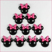 Wholesale 50 Black Minnie Mouse Pink Bow Resin Flatbacks Flat Back Scrapbooking Girl Hair Bow Center Crafts Making Embellishments DIY