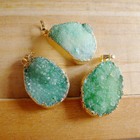 Wholesale 3pcs Green color Druzy Quartz Pendants free shape Natural Gem stone Crystal Drusy Pendants gold plated