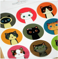 achat en gros de scrapbook de carte-90 pcs/lot 18 Dessins de BRICOLAGE Kawaii Chat de dessin animé Illustration des Autocollants pour Scrapbooking Décoration Papier de la Carte livraison Gratuite 515