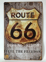 Antique Imitation Europe Tag Route66 feel the freedom paiting Tin Sign Bar pub home House Office garage Wall Decor Retro Metal Art sticker Poster RT001