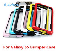 Wholesale New TPU PC Frame bumper case For Samsung Galaxy S5 SV I9600 plastic hard Case soft silicone double color dual tone Fashion cellphone bumpers