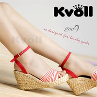 Men Pumps Wedge 2014 spring and summer kvoll wedges red canvas strap stripe all-match patchwork knitted female sandals