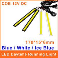 1 LED White 12V Daytime Running Lights LED DRL Universal COB 84 Chips 9W LED 12V 170*15*6mm White Blue Ice BLue Car Auto Driving Lamp Fog Aluminum DRL014