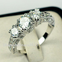 Wholesale size New Brand design fashion jewelry kt white gold filled three stones white topaz Gem women weddiing Ring