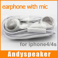 Wholesale Earphone with mic for iphone for galaxy note s s4 headset hand free white CHEAP up