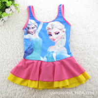 Girl One-piece 6T-8T-10T-12T-14T 2014 frozen baby swimwear frozen elsa girls swimwear one -piece beachwear and swimwear for childrem hot sale