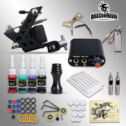 Wholesale Beginner Tattoo Kits Coils Tattoo Machine Guns Color Inks Sets Power Supply Disposable Needles Pedal Grips Tips DHL