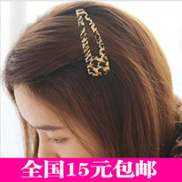 Barrettes & Clips Side folder Dark red brown leopard 3505 3508 3509 da Korean version of Leopard oversized BB clip headdress wide cloth hairpin hairpin clip the top edge of the clip small jewelry wholesale