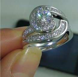 Promotion bijoux de pierres précieuses Livraison gratuite Taille 6/7/8/9/10 marque de bijoux de design de mode topaze blanche 10kt or blanc rempli Gem Wedding Ring Gift Set