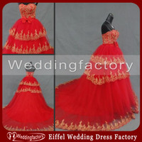red ball gown wedding dress - Modest Red Gold Wedding Dresses Ball Gown Strapless Sweetheart Lace Appliques Lace up Back Bridal Gowns